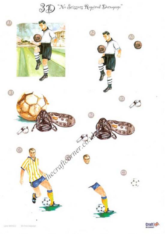 Football Die Cut 3d Decoupage Sheet From Craft UK Ltd